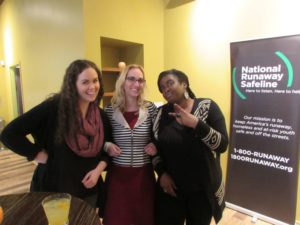 Staff members Elizabeth Hercher, volunteer coordinator Rebecca Bowlin and volunteer trainer Sabrina Hampton