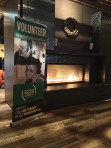 Fire place and entrance to NRS' youth crisis services volunteer appreciation event at ZED451