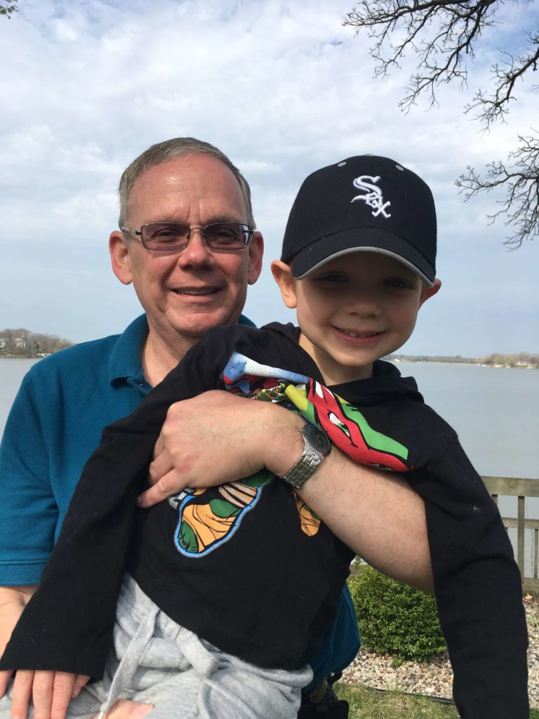 NRS Crisis Services Volunteer of the Month for May 2016 Ken Lavelle with his grandson Nathan