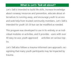 What is Let's Talk: Runaway Youth Prevention? - National Runaway Safeline