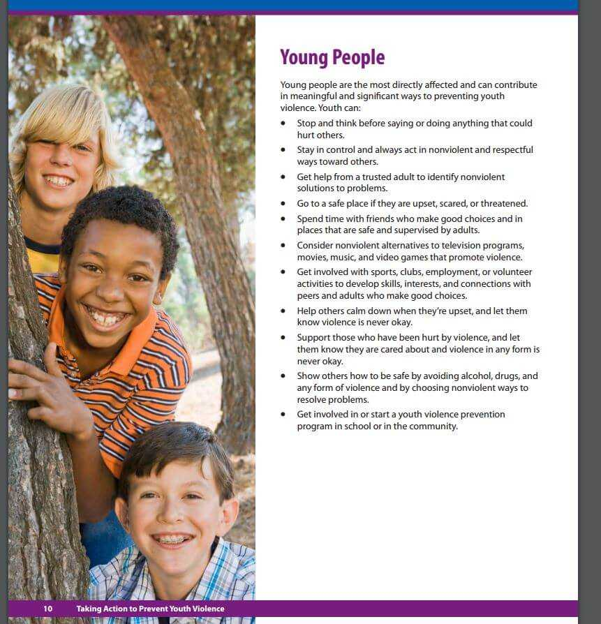 Youth Violence Prevention Activities - Centers for Disease Control - A Bully Is Hurting Me - NRS