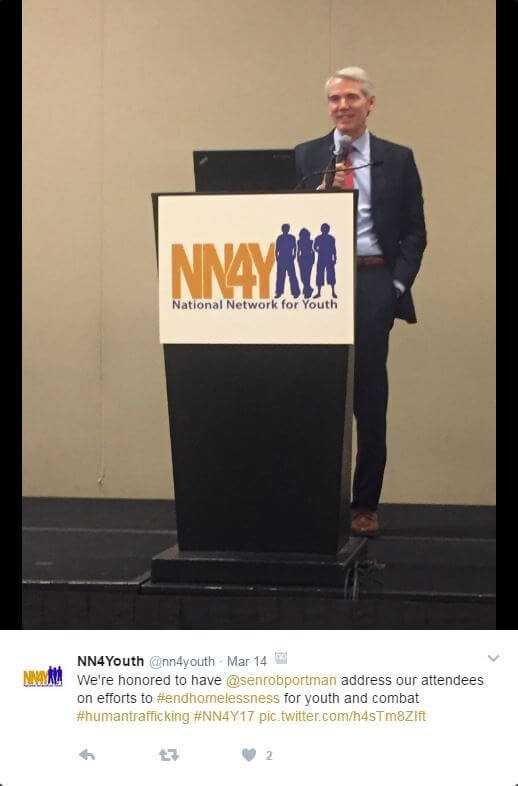 Sen. Rob Portman (R-OH.) Appears as Keynote Speaker for National Summit on Youth Homelessness