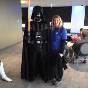 Kerrie Klein with Darth Vader at an Autism Speaks event.