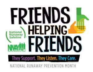 Logo for National Runaway Prevention Month 2017 with NRS and National Network for Youth | NRPM 2017