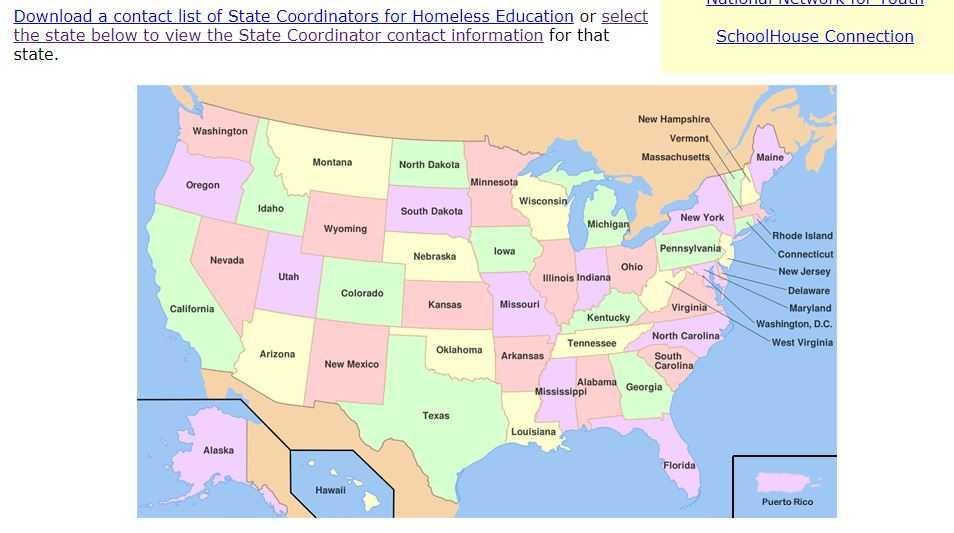 Interactive State Map - Resources for Homeless Students - NCHE