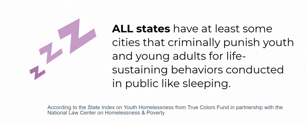 ALL states have at least some cities that criminally punish youth and young adults for life-sustaining behaviors conducted in public like sleeping.