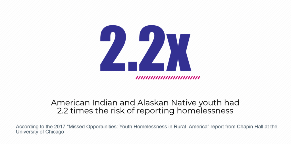 American Indian and Alaska Native youth had 2.2 times the risk of reporting homelessness