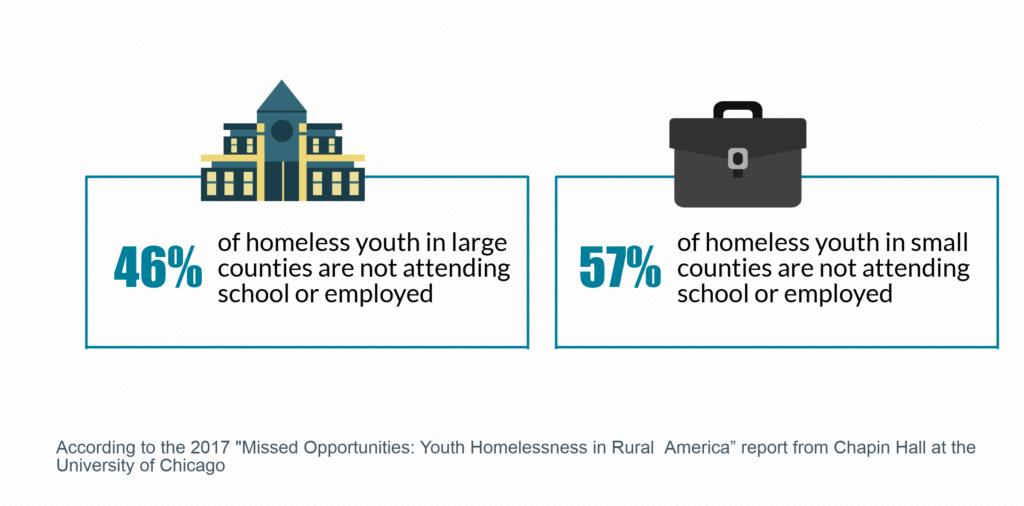 46% of homeless youth in large counties are not attending school or employed and 57% of homeless youth in small counties are not attending school or employed.